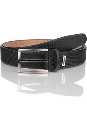 Lindenmann G.CHABROLLE Mens leather belt/Mens belt, business belt, leather belt curved with structure, anthracite, Größe/Size:90