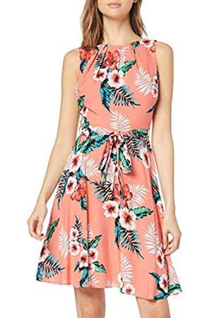 Dorothy Perkins Women's Sleeveless Tropical Pleat Neck Softbelted Crepe Dress