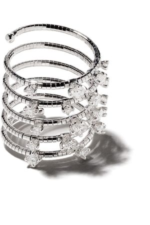 Mattia Cielo 18kt rhodium plated and titanium Signature diamond ring