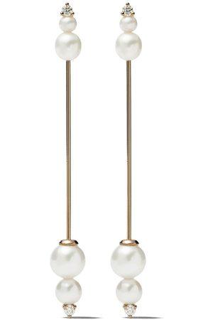 Mizuki 14kt Sea of Beauty diamond pearl long earrings