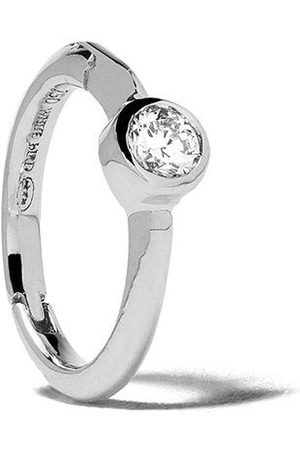 White Bird 18kt diamond Justine hoop single earring