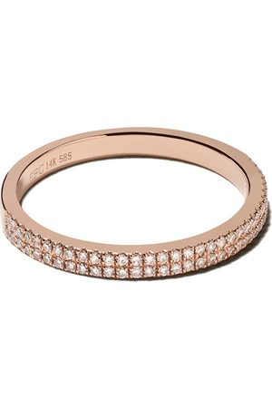 EF Collection 14kt rose double diamond eternity band ring - 14k Rose