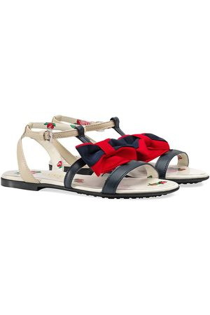 Gucci Children's leather sandal with Web bow