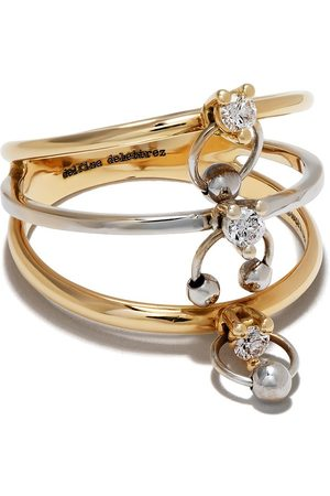 DELFINA DELETTREZ 18kt yellow and white gold Two-in-One diamond ring piercing triple ring - YG