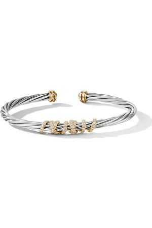 David Yurman Sterling silver and 18kt yellow gold Helena centre station diamond cuff - S8ADI
