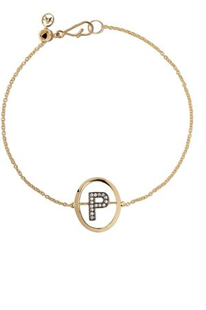 ANNOUSHKA 18kt diamond initial P bracelet - 18ct