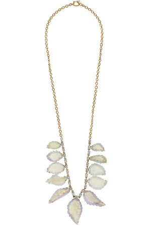 Irene Neuwirth 18kt rose gold carved opal leaf and diamond necklace
