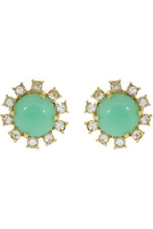 Irene Neuwirth 18kt yellow gold mint chrysoprase and diamond stud earrings