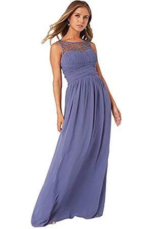 Little Mistress Grace Lavender Embellished Neck Maxi Dress 10 UK Lavender