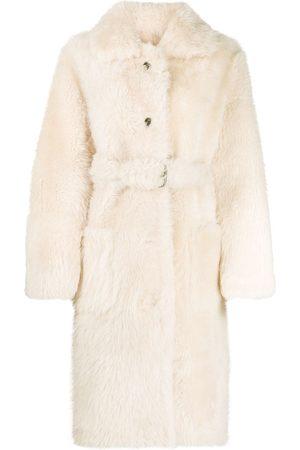LISKA Belted shearling coat - Neutrals