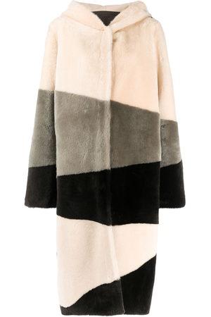 LISKA Hooded single-breasted coat - Neutrals