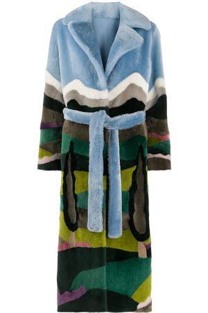 LISKA Forest print belted coat