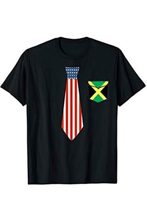 Best Jamaican Gift T-Shirts Tie American Flag and Pocket Jamaica flag