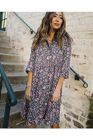 The Drop Women's Charcoal Floral Print 3/4 Sleeve Loose-Fit Shirt Dress by @spreadfashion