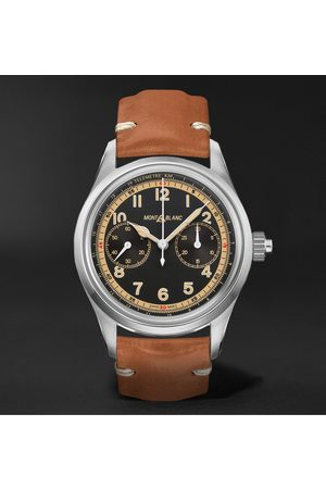 Mont Blanc 1858 Monopusher Automatic Chronograph 42mm Stainless Steel and Leather Watch, Ref. No. 125581