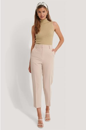NA-KD Cropped High Rise Suit Pants - Beige