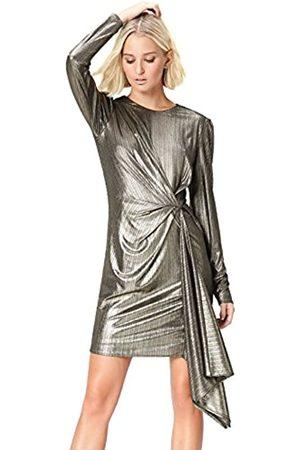 FIND Amazon Brand - Women's Dress with Gathered Metallic Drape Crew Neck, 10
