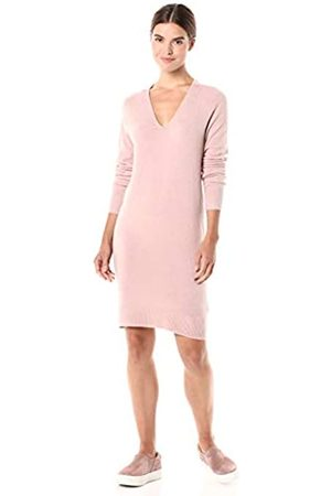 Daily Ritual Mid-gauge Stretch V-neck Sweater Dress Pale Mauve