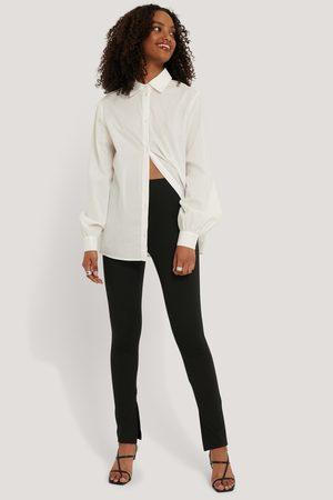 NA-KD Women Trousers - Slit Pants - Black
