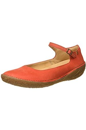 El Naturalista Women's N5720 Pleasant Borago Ankle Strap Ballet Flats, (Coral Coral)