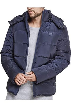 Urban classics Men's Hooded Puffer Quilted Interior Padded Jacket with Elasticated Cuffs, High Neck Zipper, Removable Hoodie