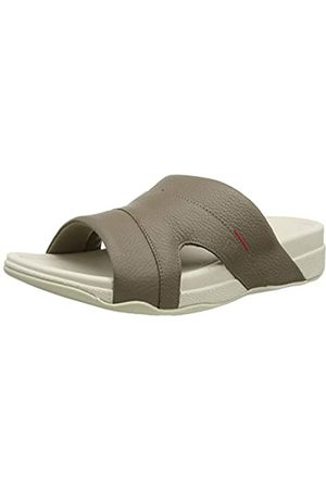 FitFlop Men's Freeway Pool Slide in Leather Flip Flops, (Timberwolf 326)