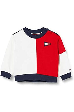 Tommy Hilfiger Girl's Colourblock Crew Sweatshirt, (Twilight Navy/Deep Crimson C87)