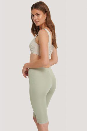 NA-KD High Waist Capri Pants - Green