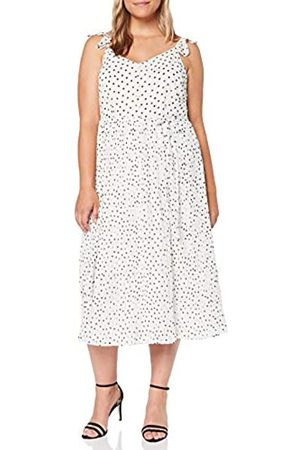 Dorothy Perkins Women's Pleated MIDI Dress SPOT with Built UP Straps Party, (Ivory 30)
