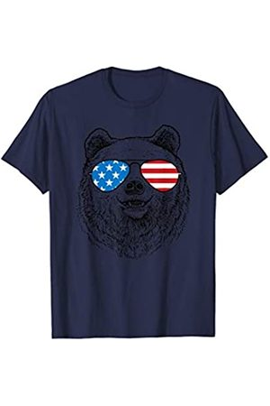 Patriotic USA Aviator Animal Gifts Cool Bear Patriotic USA Flag Aviator Glasses Design T-Shirt