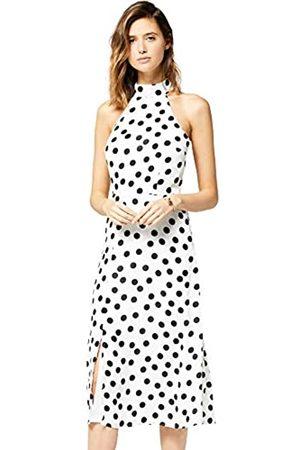 TRUTH & FABLE Amazon Brand - Women's Midi Chiffon Halter Dress, 10