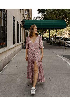 The Drop Women's Blush Floral V-Neck Button Down Tiered Maxi Dress by @charlottebridgeman