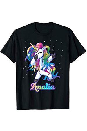 Unicorn Personalized Name Custom Clothing ANALIA Name Personalized Custom Rainbow Unicorn Dabbing T-Shirt