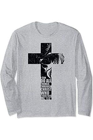 Christian Cross Gift Co I Can Do All Things Christian Cross Lion Verse Gifts Men Son Long Sleeve T-Shirt