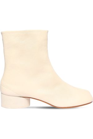 Maison Margiela 30mm Tabi Vintage Leather Ankle Boots