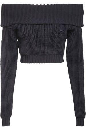 SUNNEI Off-the-shoulder Knit Crop Top