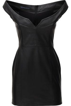 Zeynep Arcay Princess Leather Mini Dress