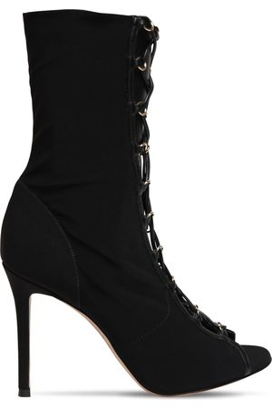 Gianvito Rossi 105mm Crepe De Chine Lace-up Ankle Boots