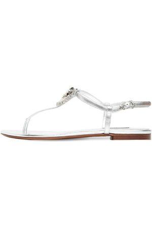 Dolce & Gabbana 10mm Embellished Metallic Leather Sandal