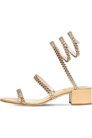 RENÉ CAOVILLA 40mm Metallic Leather & Satin Sandal