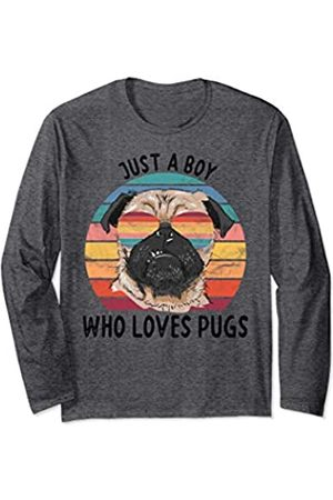Just a Boy Who Loves Pugs Dog Gifts Boys Mens Long Sleeve T-Shirt