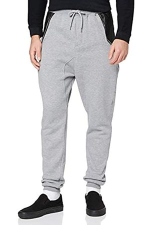 Urban classics Men's Side Zip Leather Pocket Sweatpant Trousers