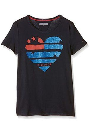 Tommy Hilfiger Girl's Flag Heart CN Knit S/S T-Shirt, -Blau ( Iris 002)