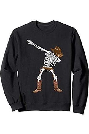 BUBL TEES Dabbing Skeleton Cowboy Hat Boots Halloween Kids Boys Gift Sweatshirt