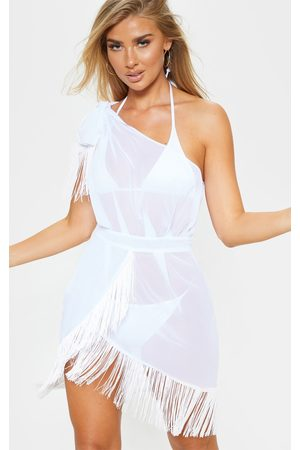 PRETTYLITTLETHING Asymmetric Fringe Beach Dress