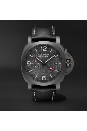 PANERAI Men Watches - Luminor Luna Rossa Challenger Automatic GMT and Flyback Chronograph 44mm Titanium and Leather Watch