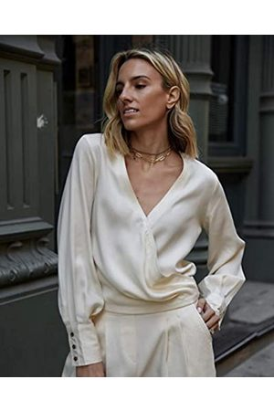 The Drop Women's Ecru Draped Pleated Cross-Front Volume-Sleeve Button Down Shirt by @lisadnyc