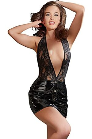Black Level Women's 28512101021 Vinyl Dress with Lace Top Small