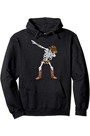 BUBL TEES Dabbing Skeleton Cowboy Hat Boots Halloween Kids Boys Gift Pullover Hoodie