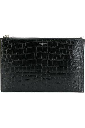 Saint Laurent Mini tablet crocodile-embossed sleeve